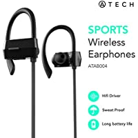 ATECH Sports Bluetooth Earphones 4.1 Wireless Headphones with Mic IPX4 Sweatproof Earbuds for Gym Running Workout iPhone Android (Black)
