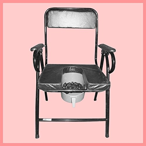 Bedside Commode Iron Collapsible Elderly Pregnant Woman Seating Chair Black xinxin.com