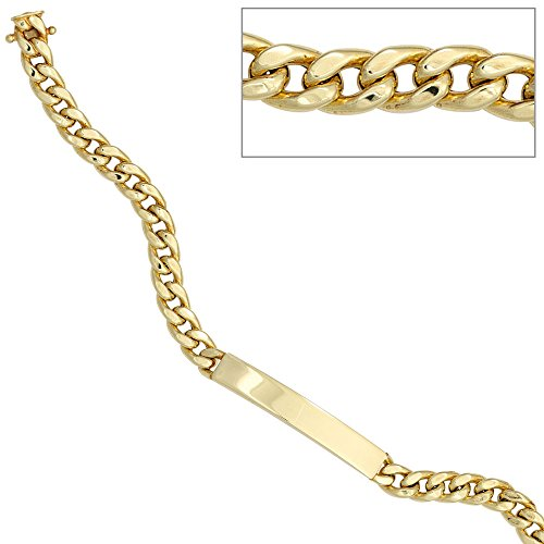 JOBO gourmette en or jaune bracelet filmer cadenas avec gravure de 20 cm
