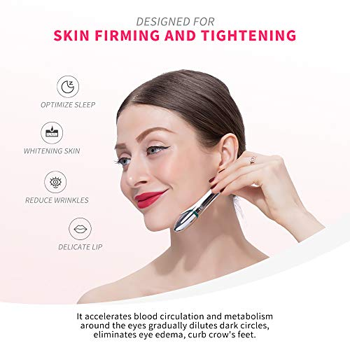 QUEVINA Eye Massager Wand 42℃ Heated Portable Low-Frequency Vibration Lontophoresis Tech Beauty Pen Anti-wrinkle Reduce…