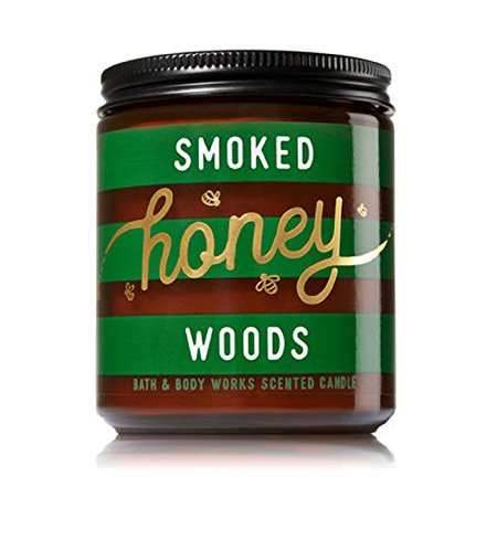 (Bath & Body Works SMOKED HONEY WOODS Single Wick Scented Glass Candle 7 oz with Lid)