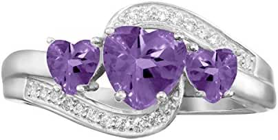 ARTCARVED To the Moon Simulated Amethyst February Birthstone Ring, 10K White or Yellow Gold or Silver