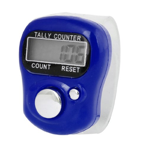 Clear Soft Band Blue Plastic Shell LCD Display Finger Counter Tool