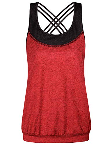 (Miusey Summer Clothes for Women,Juniors Fashion Clothing 2019 Casual Sleeveless Oversize Working Out Cute Tops Flatter Soft Stylish Bagging Loungwear Space Dye Red XXL )