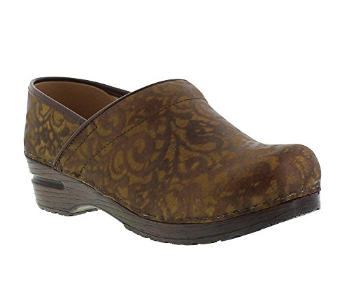 Rose Embossed Sanita Women's Professional Original Brown Clog zIzCq