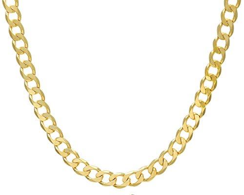Revoni Bague en or jaune 9carats-66,2G-Collier Femme-Maille Gourmette, longueur 51cm/50,8cm, Largeur: 10mm