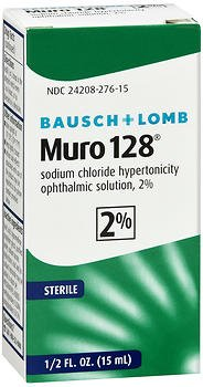 (Bausch + Lomb Muro 128 Solution 2% - .5 oz, Pack of 6)