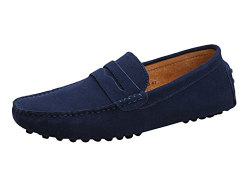 Icegrey Hommes Passant Conduite Chaussures Suède Flâneurs Bleu Profond 39