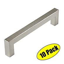 "KES Cabinet Pull Handle All Metal 96mm or 3-3/4"" Hole Center SUS304 Stainless Steel, Brushed Finish, 10 Pack, HHP203S96-2-P10"