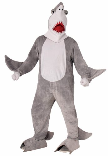 Forum Novelties Men's Chomper The Shark Plush Mascot Costume, Gray, One Size (Sea Creatures Costume)