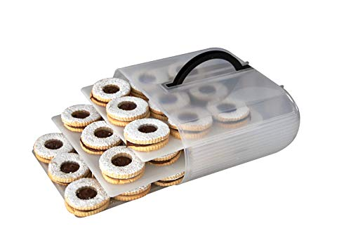 Cookie & Cake Food Storage Container Carrier | Cupcake Box With 4 Adjustable Sliding Trays & Ergonomic Handle | Cake Holder Keeps Your Tasty Baked Goods Look and Taste Their Best 2 Egg Trays Included
