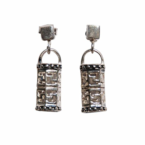 Greek Key Post Earrings (Sterling Silver Oxidized Hexagonal-shaped Cut Out Greek Key Post Earrings Hanging from Square)