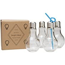 Light Bulb Glass - 14oz - Multi-Use Kids Cup, Adult Drinking Glass, Juice, Cocktail, Beer, Terrarium, Candy Jar (4)