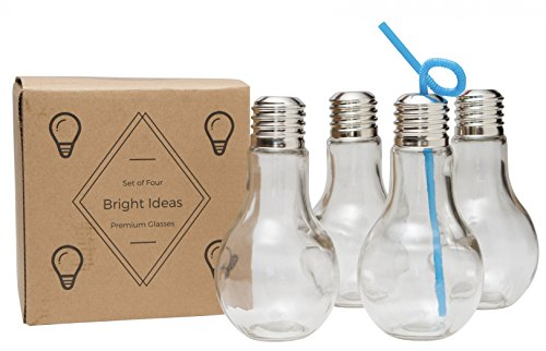 Light Bulb Glass - 14oz - Multi-Use Kids Cup, Adult Drinking Glass, Juice, Cocktail, Beer, Terrarium, Candy Jar (4) (Plastic Mint Julep Cups Safe For Drinking)