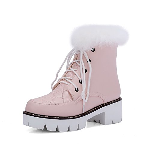Allhqfashion Women's Solid Kitten-Heels Round Closed Toe PU Lace-up Boots Pink