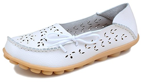 Women's Fashion Flats Loafers PhiFA White Leather Slip Hollow On Shoes wqEEHd