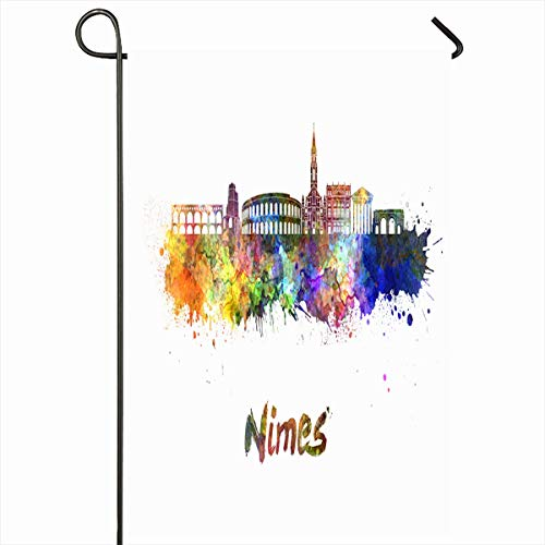 Ahawoso Outdoor Garden Flag 12x18 Inches Skyline Nimes Watercolor Splatters Path Cityscape Clipping Abstract Bright Color Grunge Panoramic Seasonal Double Sides Home Decorative House Yard Sign