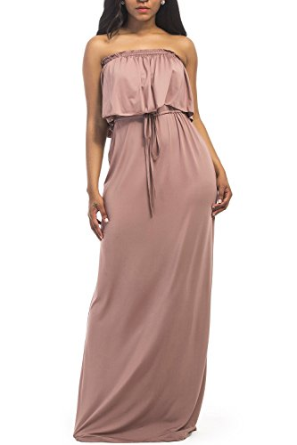 WIWIQS Women's Off Shoulder Stretchy Casual Long Plus Size Bridesmaid Dress,Brown,2XL