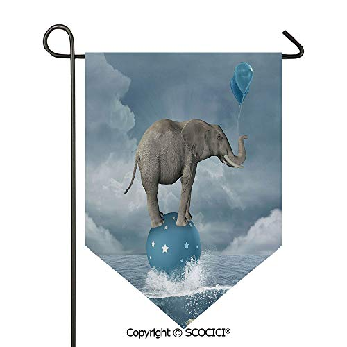 SCOCICI Easy Clean Durable Charming 28x40in Garden Flag Elephant with Balloons on Sea Fish Fantasy Circus Animal Balance Surreal Decorative,Blue White Grey Double Sided Printed,Flag Pole NOT Included