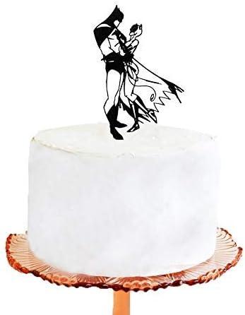 Decoración para tarta de boda con silueta de Batman y Catwoman ...
