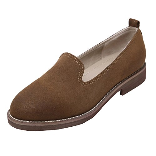 Women's Loafers Slip-on Boat Shoes Flat Shoes Ladies Faux Suede Leather Moccasin Brown 8YRtVci