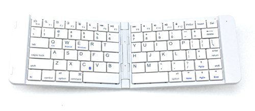 Bluetooth Folding Wireless Keyboard, Alitoo Rechargeable Ultra Slim Portable Ergonomic Design Keyboard for iPad iPhone Android Devices Kindle Fire Computer Tablets - White by Alitoo
