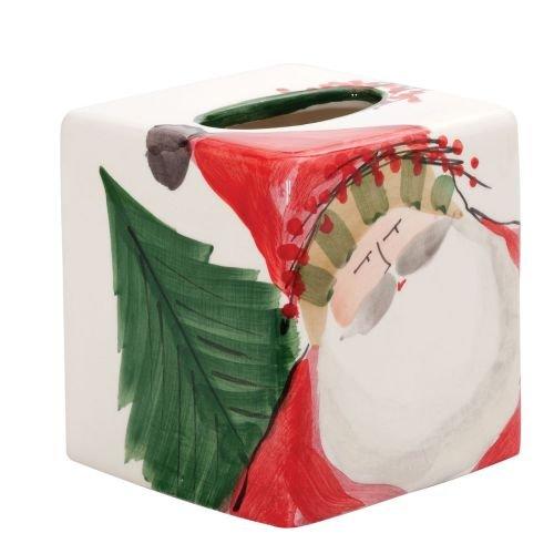 Vietri Old St. Nick Tissue Box, Christmas Ceramic Home Décor