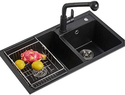 流し台シンク 珪岩家庭用大容量ダブルタンク 四角い黒のキッチン野菜と果物の洗浄テーブル パウダールーム洗面台 (Color : Black, Size : 78*43cm)