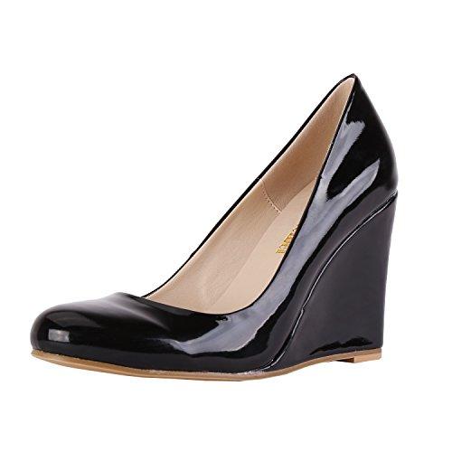 Toe Black Wedges High heels Pumps Platform Women's Round Dress Neon Shoes Zbeibei tqWSwEPpx