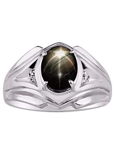 RYLOS Simply Elegant Beautiful Black Star-Sapphire & Diamond Ring