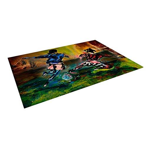 KESS InHouse Josh Serafin ''Slidetackle'' Soccer Outdoor Floor Mat, 4' x 5' by Kess InHouse