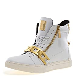 Zion-Chain Round Toe Rhinestone Strap High-Top Sneaker