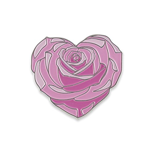 Pink Rose Heart - Heart Shaped Pink Rose Flower Enamel Lapel Pin– 1 Pin