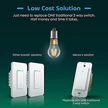 Smart 3 Way Light Switch (Only One Needed), Meross Smart WiFi Light Switch Works with Alexa, Google Assistant and IFTTT, Light Switch with Remote Control, Voice Control and Timer, No Hub Required