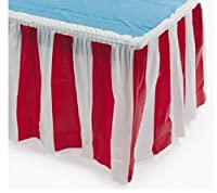Fun Express Striped Table Skirt Red/White