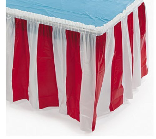 (Fun Express - Red/white Striped Table Skirt - Party Supplies - Table Covers - Table Skirts - 1)