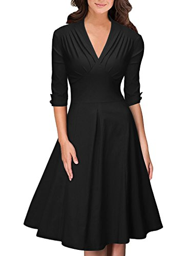 OWIN Women's Retro Deep-V Neck Half Sleeve Vintage Casual Swing Dress Party Dress (L, Black)