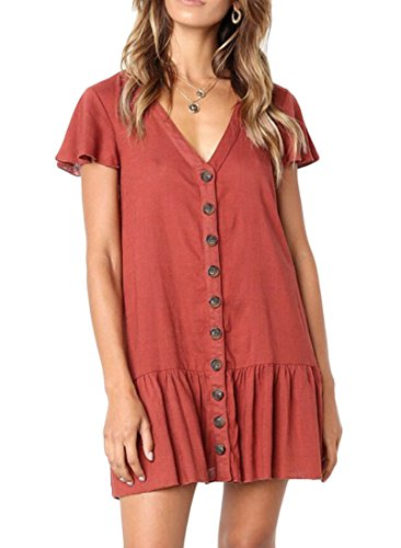 Frieed Womens Shift Casual T-Shirt Mini Button Front Pleated V-Neck Tunic Dress Red S