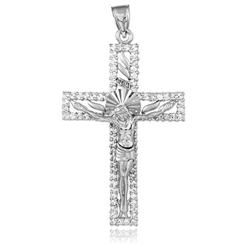 Argent Oxyde de Zirconium Crucifix Pendentif