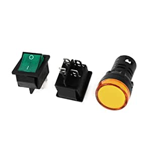 BooTool(TM) 2x KCD4 DPST Green Light Rocker Switch w AD16-22D/S Yellow Pilot LED Lamp DC 12V