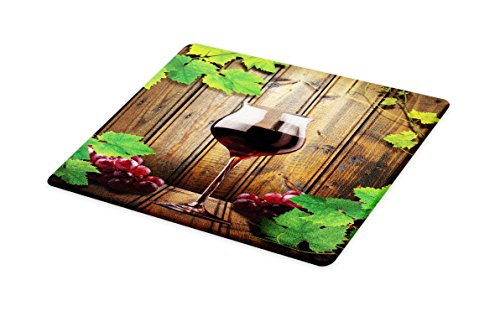 Lunarable Winery Cutting Board, Wine Glasses and Grapes Rustic Wood Planks Alcoholic Drink Gourmet Taste, Decorative Tempered Glass Cutting and Serving Board, Small Size, Brown Green Burgundy (Board Glass Cutting Wine)