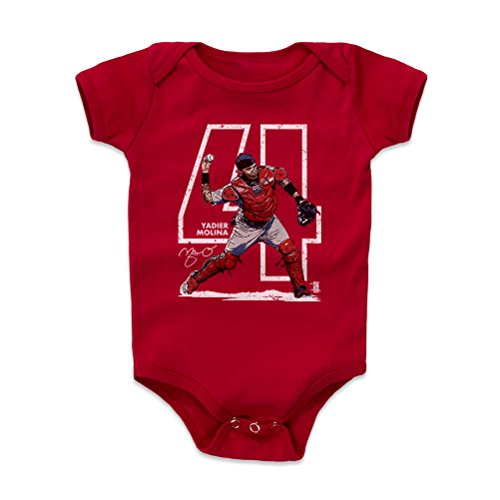 500 LEVEL Yadier Molina Baby Clothes, Onesie, Creeper, Bodysuit 6-12 Months Red - St. Louis Baseball Baby Clothes - Yadier Molina Outline W WHT