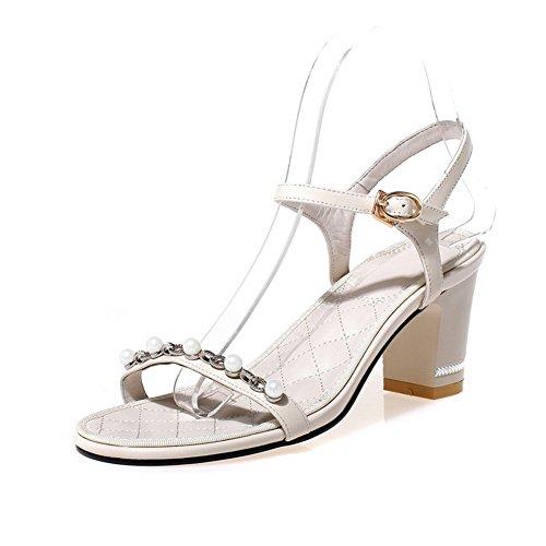 AmoonyFashion Womens Solid Cow Leather Kitten Heels Open Toe Buckle Sandals Beige JQJZxu