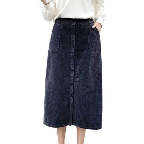 Waist Button Elastic (Flygo Women's Elastic Waist Button A-Line Corduroy Midi Long Skirt with Pockets (Medium, Grey))