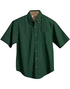 Men's Cotton Valor Soft Twill Short Sleeve Pleated Woven Shirt (8 Color, S-6XLT)