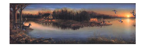 York Wallcoverings Lake Forest Lodge WD4174B Tranquil Evening Border, Blue/Green