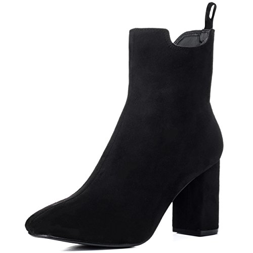 Daim Spylovebuy Refined Simili Chaussures Talon Noir Bloc Femmes À Bottines 4vHwxOq4R
