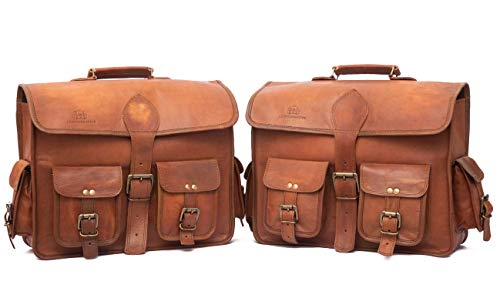 - Leather Native 2 Side Pouch Brown Leather Motorcycle Side Pouch Saddlebags Saddle Bag Panniers (2 BAGS)