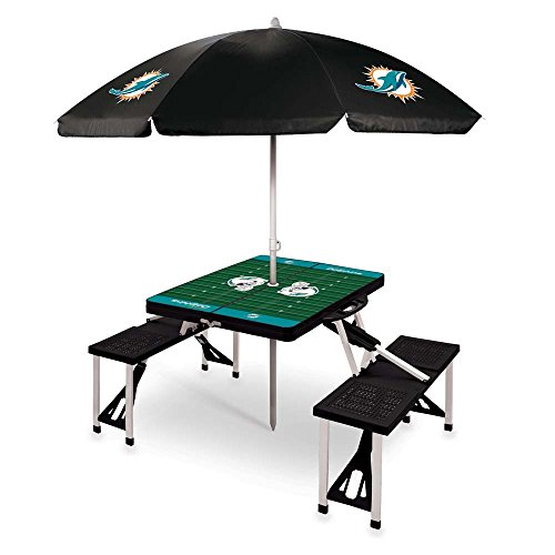 NFL Miami Dolphins Picnic Table Sport with Umbrella Digital Print, One Size, Black by PICNIC TIME