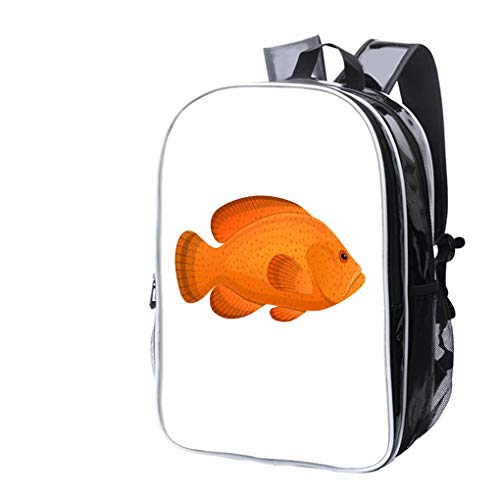 (High-end Custom Laptop Backpack-Leisure Travel Backpack Fish Grouper Spotted Colorful sea Fish, Swimming on sea Bottom Water Resistant-Anti Theft - Durable -Ultralight- Classic-School-Black)